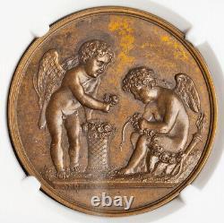 1822, France/Denmark. Danish Royal Couple, Paris Mint Visit Medal. NGC MS-63