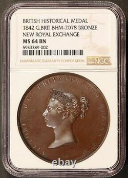 1842 Great Britain New Royal Exchange Bronze Medal BHM-2078 NGC MS 64 BN