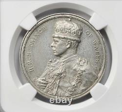 1921 British India Royal Visit By Prince Of Wales White Metal Medal Ngc Ms62