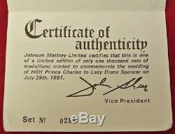 1981 ROYAL WEDDING 3 MEDALLION SET 14KT GOLD &. 925 SILVER & NICKEL Case&COA