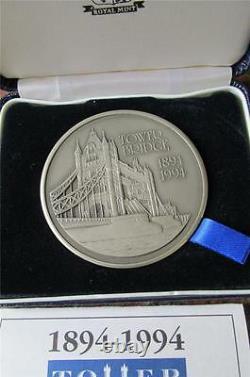 1994 Royal Mint 5 oz SILVER CENTENARY Medal TOWER BRIDGE London Cased FDC