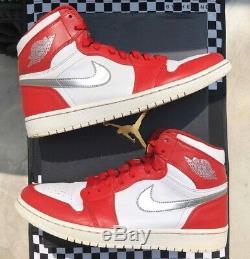 2017 Nike Air Jordan 1 I Retro High Silver Medal Sz 9.5 Royal Bred Fearless