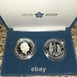 2020 Mayflower 400th Anniversary US & Royal Mint Silver Proof Coin Medal Set OGP