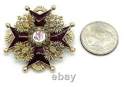 Antique Imperial Russia St. Stanislav Third Class 14 K(56) Gold Medal Badge Order