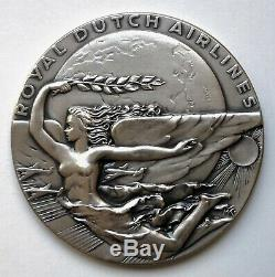 Art Deco Nude Woman silver medal by M. Kutterink Royal Dutch Airlines
