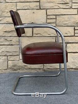 Art Deco Streamline Royal Medal KEM Weber Style Cantilever Chrome Armchair