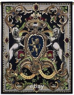 FRENCH ROYAL CREST TAPESTRY Crown Dogs Jeweled Medallions 53 Wall Hanging