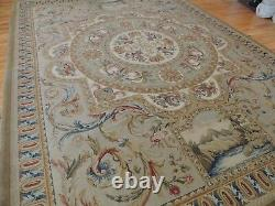French Rug 9x12 Savonnerie Aubusson Design Royal King Crown Medallion Pictorial