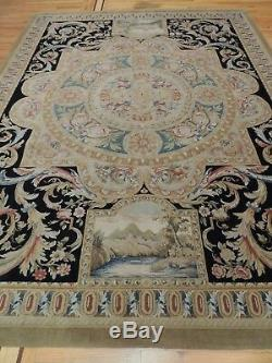 French Rug 9x12 Savonnerie Aubusson Royal King Crown Pictorial Blue Black