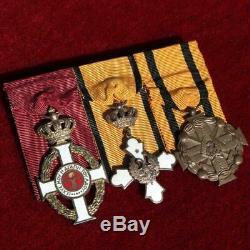 Greece Greek Royal Army Ribbon Medal Bar King George I& Phoenix & Military Merit