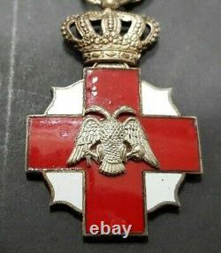 Greece Royal Hellenic Red Cross WW2 Medal by Kelaidis Two Stars on Ribbon