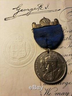 King George V Royal Order Signed On 20/10/1917 & Coronation Medal 06/22/1911
