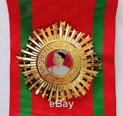 Kingdom Of Cambodia Royal Queen Order Medal Grand Cross Sash White Stone Set