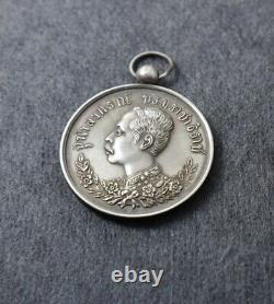 MEDAL OLD PENDANT ROYAL DECORATION Thailand Medal Siam King Rama V Silver Coin