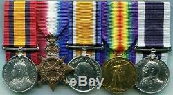 Medal Group QSA no clasp, 1914/15 Star Trio, Long Service Shipwright Royal Navy