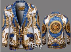 Mens blazers PRESTIGE Medallion paisley medusa European Style pbz650 Royal blue