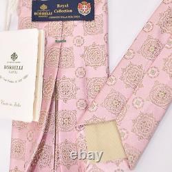 New LUIGI BORRELLI Tie ROYAL COLLECTION Pink Medallion Silk Necktie nwt 160391
