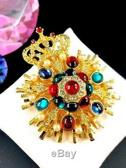 Nib 1998 Graziano Multicolored Cabochon Rhinestone Medallion Royal Crown Brooch