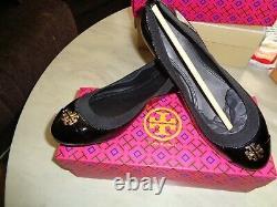Nib Tory Burch Jolie Black Patent Leather, Elastic, Gold Reva Ballet Flats 9