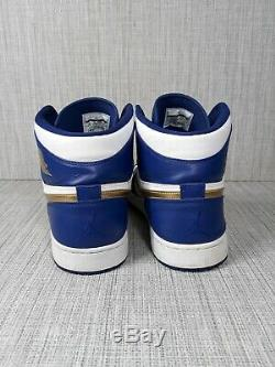 Nike Air Jordan 1 Retro High Gold Medal 332550 406 Deep Royal Blue Gold Size 13