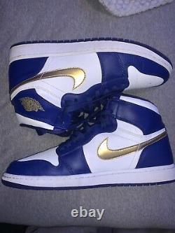 Nike Air Jordan 1 Retro Mid Gold Medal Size 13 White/Royal Blue 332550 406
