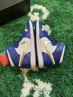 Nike Air Jordan Retro 1 HighGold MedalWhite/Royal Blue-Gold Sz 11