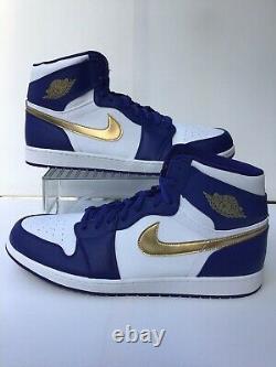 Nike Air Jordan Retro 1 HighGold MedalWhite/Royal Blue-Gold Sz. 17 (332550-406)