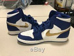 Nike Air Jordan Retro 1 High Gold Medal Size 12.5 White Deep Royal Blue