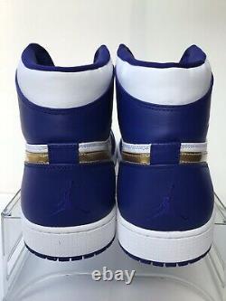 Nike Air Jordan Retro 1 High Gold Medal White/Royal Blue-Gold Sz. 18 332550-406