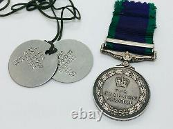 Original Campaign Service Medal Northern Ireland + Dog Tags Royal Artillery