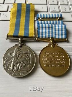 Queens Korea & UN medal with original ribbons To Hindhaugh Royal Engineers