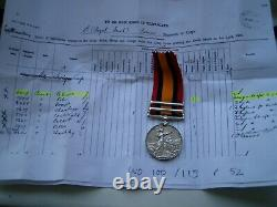 Queens South Africa Medal 5th Royal Irish Lancers