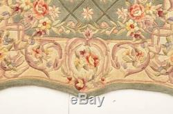 ROYAL PALACE MEDALLION-SHAPED WOOL AREA RUG IN SAGE & LINEN 57 x 93 or 5'x8