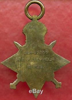 Royal Fusiliers Pte F Seymour Gs-47367 British Ww1 Medal Trio (83)