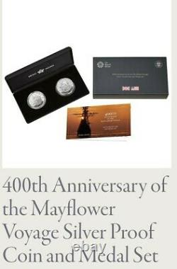 Royal Mint 400th Anniversary of the Mayflower Silver Proof Coin Medal Set UK