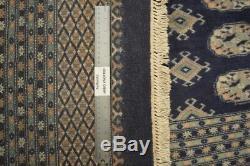 Royal Navy Blue Oriental 12x18 Handmade Bokhara Rug All-Over Elephan foot design