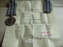Royal Observer Corps Medal, Scarce Britt Omn Issue With Paperwork, Raf Shrewsbury