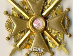 Russian Imperial Antique badge medal Order St. Stanislav Bronze 2 swords (1030)