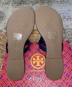 Tory Burch Miller Leather Thong Sandal US Size 8 Rainbow & Navy