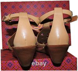 Tory Burch Zoey Sandals Thongs Tan Leather Logo Wedge Ankle Strap Shoes Sz 10