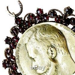 Tsar Nicholas II Antique Imperial Russian 14K Gold Pendant Military Jetton Medal