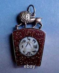 Victorian 9k Gold Goldstone Agate Royal Arch Mason Key Pendant Fob Masonic Medal