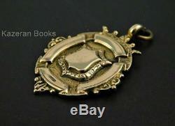Vintage Solid 9ct Gold Pocket Watch Chain Fob Medal St Annes EM Imperial AF 1927