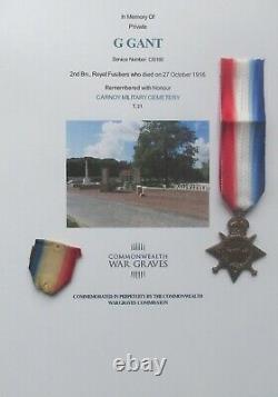 WW1 1914/15 STAR MEDAL George Gant 2nd Bn Royal Fusiliers KIA / Casualty