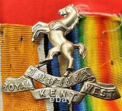 WW1 BRITISH ARMY 1914-15 STAR MEDAL TRIO & BADGES ROYAL WEST KENT REGIMENT(z)