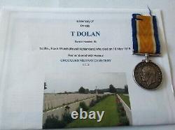 WW1 DOW British War Medal Dolan 1st Black Watch Royal Highlanders Fifeshire Low