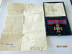 WW1 George v Royal Red Cross A. R. RC Nursing Medal in Case with War Office Letter