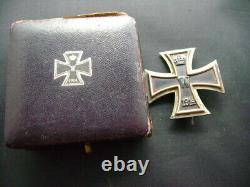 WW1 German Prussian 1914 Iron Cross 1st class cased medal Imperial badge (2925)