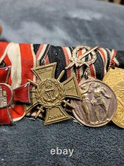 WW1 Imperial German Navy 6x Place Medal Bar Hanseatic Cross/ Iron Cross Mounted