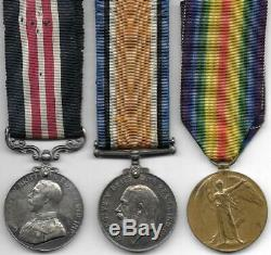 WW1 Military Medal Trio to Sapper R. HODGKINSON West Lancs Royal Engineers T. F